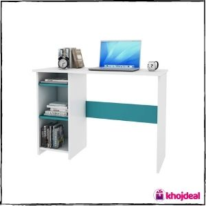 Woodbuzz Engineered Wood Study Table (Frosty White and Ocean Green)