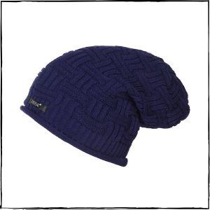 Noise Cross Knitted Slouchy Beanie Cap (Blue)