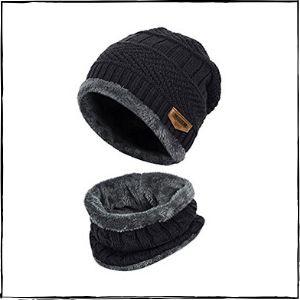Handcuffs Fleece Lined Beanie Hat & Scarf Set (Blue)
