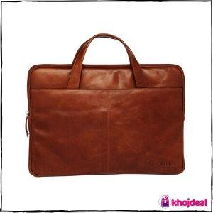 Carlton Leather Laptop Briefcase Brown