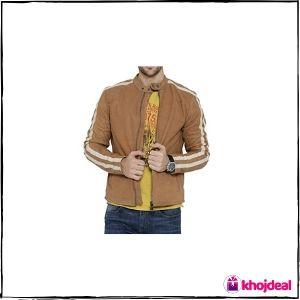 Bareskin Beige 'Café Racer' Leather Jacket