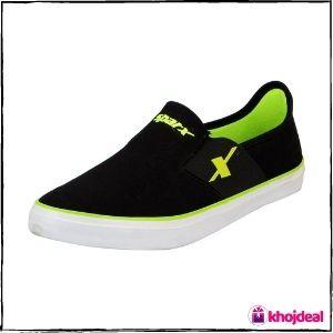 Sparx Men's Canvas Loafer Shoes (Black Green)