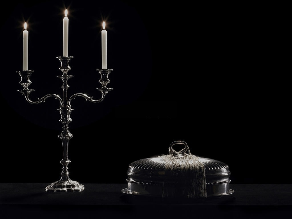 Chiseled Silver Candle Stand
