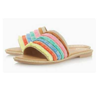 Dune London Colourblock Sliders with Tiered Fringes