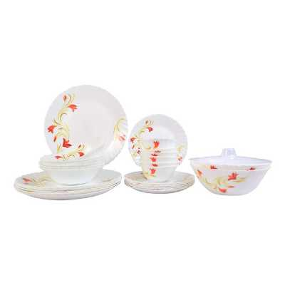 Larah By Borosil Red Lily Opalware Glass 27-Pieces Dinner Set