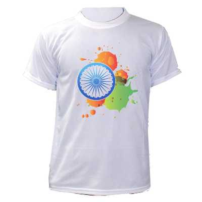 Tiish Men's T-Shirt Regular Fit 100% Polyster Solid Round Neck with Indian Flag Logo