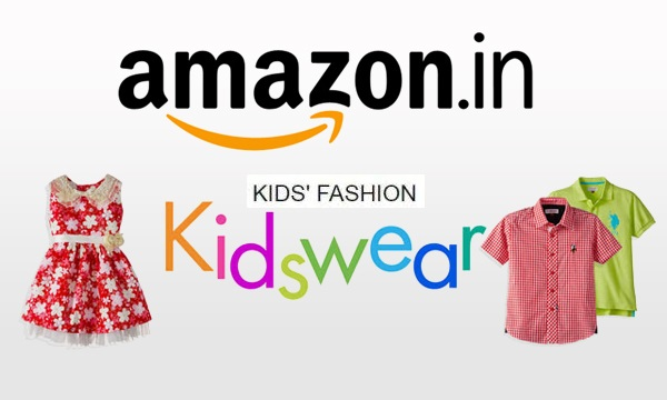 Image of a poster showing kids clothes where amazon.in is written alongside kids' fashion