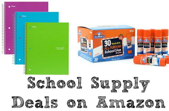 """Image of text books and fevi-stick with """"school supply deals on Amazon"""" is written at the bottom"""