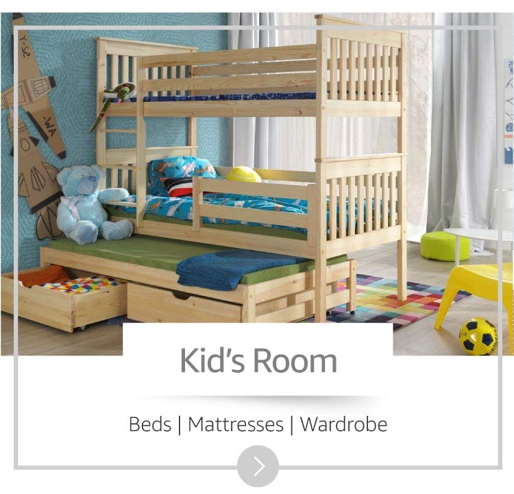 Image of  a wooden bunker bed in a kid's room.