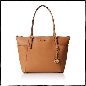 Michael-Kors-Handbags-–-Michael-Kors-Women's-Large-Jet-Set-Saffiano-Leather-Top-Zip-Top-Handle-Bag-Tote-–-Acorn