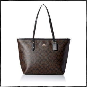 Coach-Handbags-–-Coach-Signature-City-Zip-Tote-–-BrownBlack